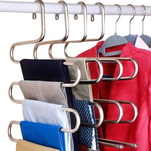 DOIOWN S-Type Stainless Steel Clothes Pants Hangers Closet Storage Organizer for Pants Jeans Scarf Hanging