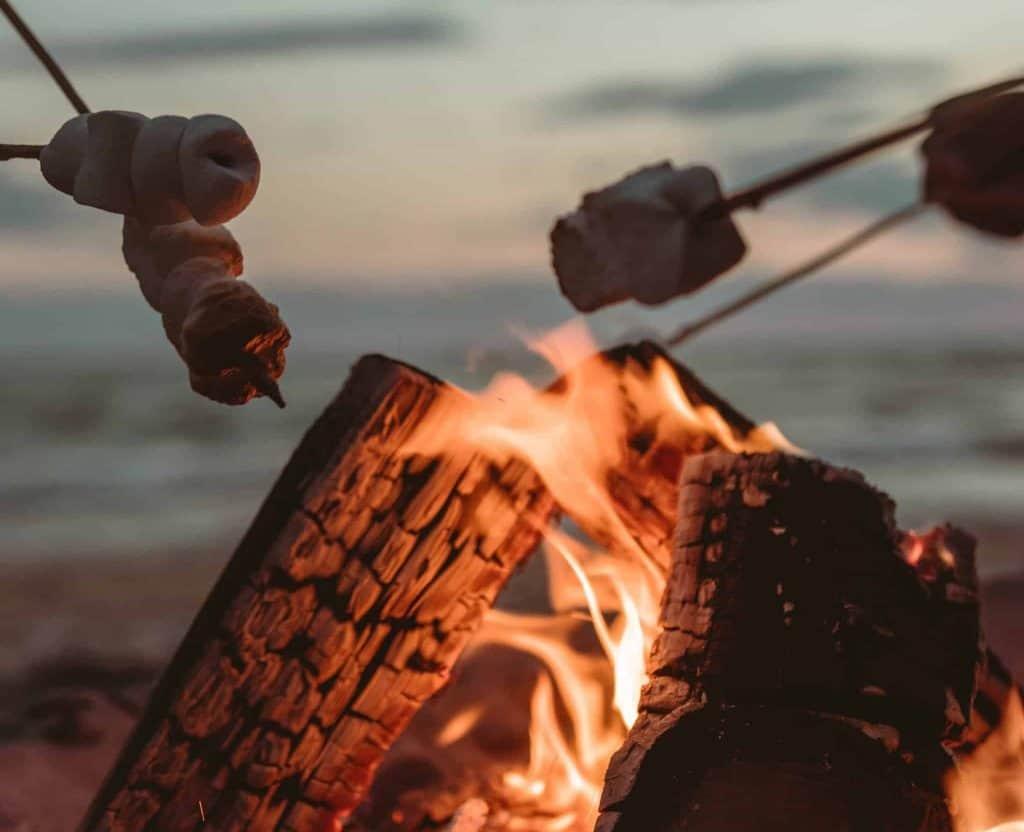bonfire roasting s'mores