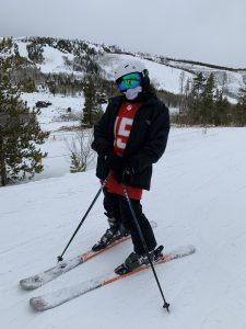 snow skiing outfit with football jersey chiefs