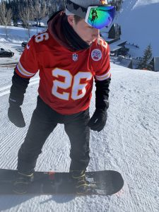snowboarding outfit with jersey