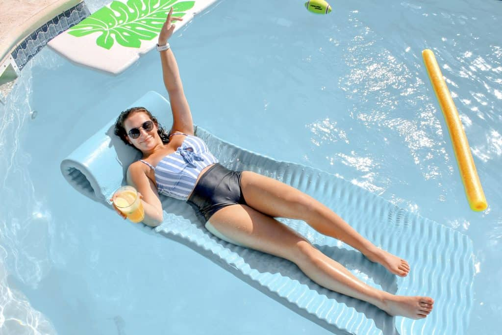 relaxing on a pool float