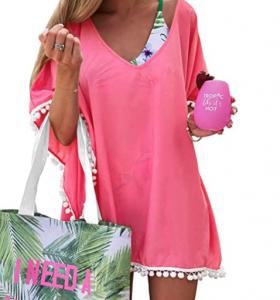 chiffon pom pom kaftan beach swimsuit cover up bathing suit