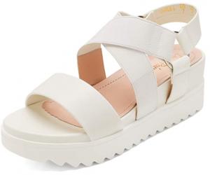 white platform sandals beach